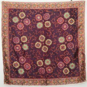 TERRIART-Aubergine-Copper-Medallions-Satiny-26-034-Square-Scarf-Vintage