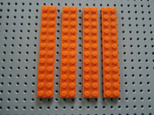Lego 4 x flache Platte Bauplatte 2445 orange  2x12