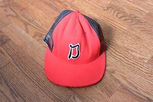 Vintage-Red-Black-Cursive-D-034-Trucker-Cap-Hat-Snapback