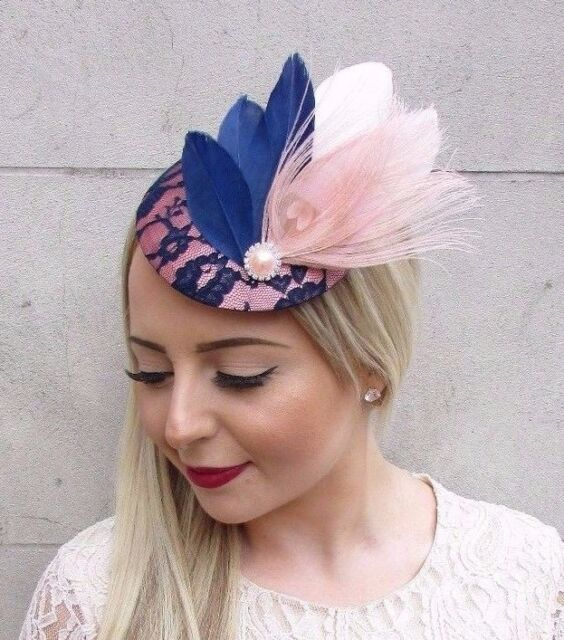 989becb69eb20 Navy Blue Blush Light Pink Feather Fascinator Pillbox Hat Hair Clip Races  3891 for sale online