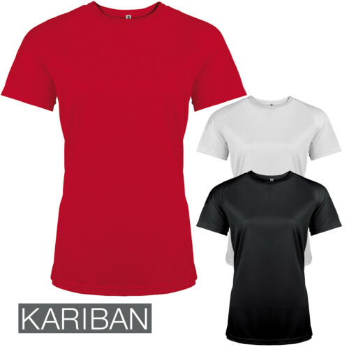 Kariban Proact Women/'s Short Sleeve Crew Neck T-Shirt Quick Dry Lightweight Top