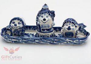 Gzhel-Porcelain-Salt-Pepper-Hedgehogs-Shakers-plate-holder-Set-handmade