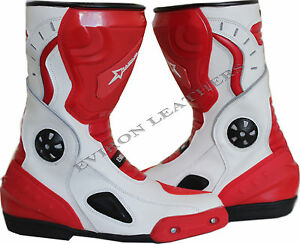 Motorcycle-Motorbike-Leather-Boots-White-amp-Red-Water-resistant