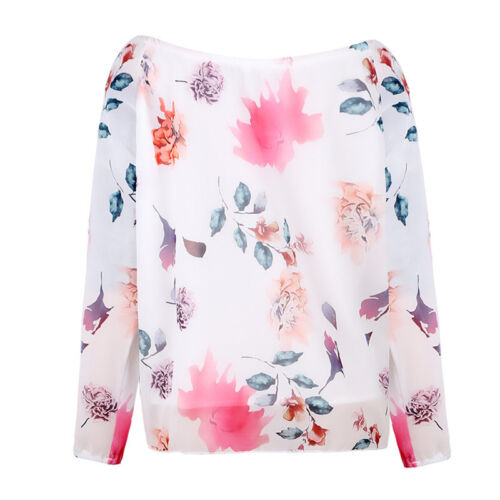 Womens Floral Drawstring Long Sleeve Lace Up T-Shirt Loose Tops Blouse Plus Size
