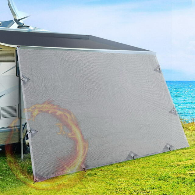 4.9 m Caravan Privacy Screens 1.95 m Roll Out Awning End Wall Side Sun Shade