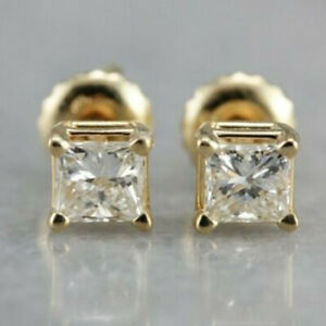 0-60-Ct-Princess-Cut-Diamond-14k-Yellow-Gold-Over-Solitaire-Square-Stud-Earrings