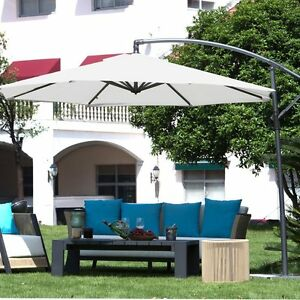 Image is loading 10Ft-Offset-Cantilever-Patio-Umbrella-with-Base-Crank- & 10Ft Offset Cantilever Patio Umbrella with Base/Crank and Air Vented ...