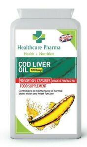 Aceite-de-higado-de-bacalao-Fish-1000mg-90-capsula-de-gel-suave-cerebro-vision-de-ojo-corazon-UK