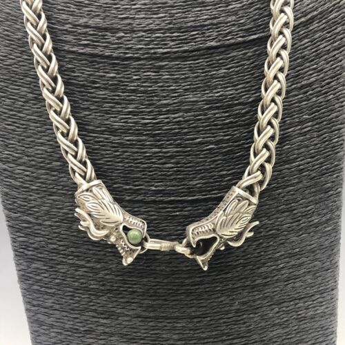 Chinese antique Tibetan silver Copper hand-carved dragon head necklace