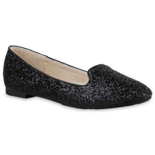 Glitzer Damen Loafers Lack Schuhe Slipper Flats 814991 Trendy Neu