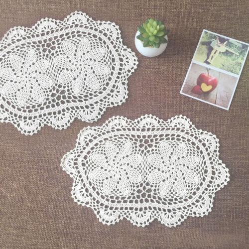 Set of 4 Cotton Placemats White Hand Crochet Lace Table Mats Vintage Doilies