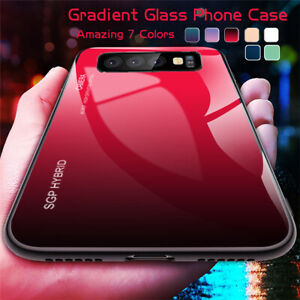 For Samsung S20 S10 S9 S8 Note 9 10 Plus Gradient Tempered Glass Hard Case Cover