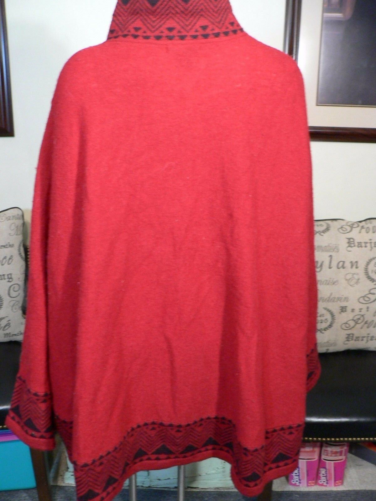 Tally-Ho Red Wool Cape Poncho One Size Size Size 221935