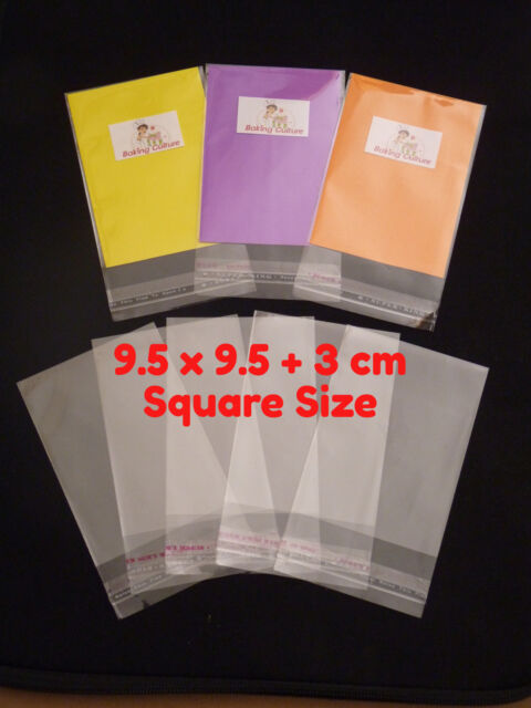 50 CELLOPHANE CELLO OPP CLEAR BAGS - SELF SEAL - 9.5 cm x 9.5 cm - Square Size