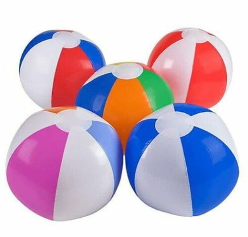 """LOT OF 5 BEACH BALLS 7/"""" Inflated SWIMMING POOL PARTY Balls"""