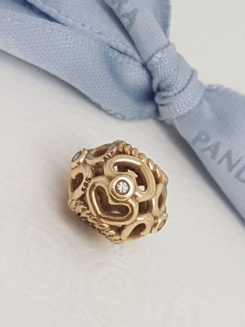 "Authentic Pandora 14ct 14k Gold Openwork ""Sparkling Heart"" Diamond Charm 750466D"
