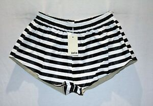 into-Brand-Women-039-s-Black-White-Striped-Faux-Leather-Shorts-Size-12-BNWT-TO78