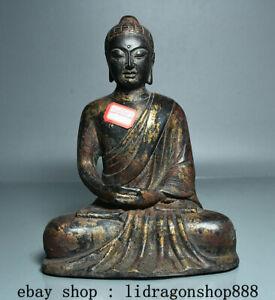 "9,2"" Ancien Tibet Bouddhisme Bronze Doré Shakyamuni  Amitabha Bouddha Statue"