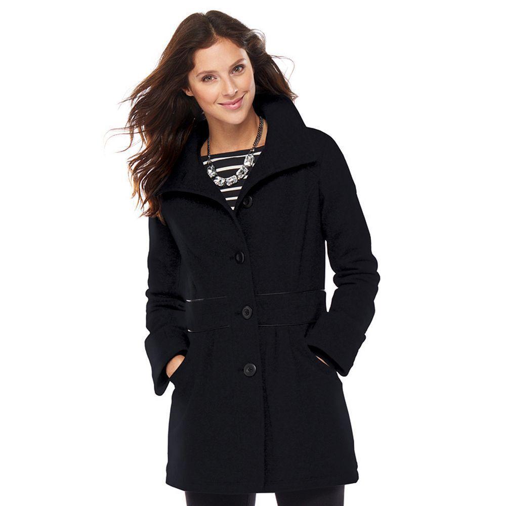 Nuevo con Etiqueta women Apt. 9 Peacoat Guisante Abrigo black