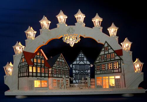 3d Schwibbogen vieille ville Truss Lumières Arc 66 cm colombages les Monts Métallifères