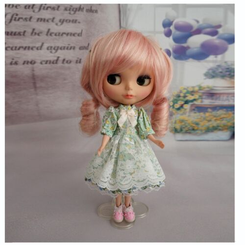 92# Neo Blythe doll Handmade green Floral Dress