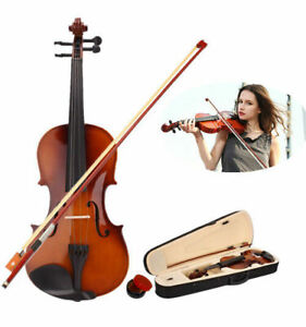 US-4-4-Full-Size-Natural-Basswood-Acoustic-Violin-Fiddle-Case-Bow-Rosin-New