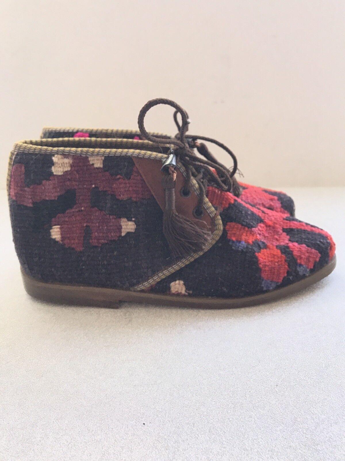 Topkapi turquie Kilim Kilim Kilim Tapis Bottines Semelles en Cuir Art to wear taille 6-6.5 19b4ab