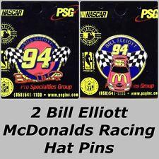 CLASSIC Lot 2 Different Bill Elliott _ McDONALDS RACING COLLECTOR HAT LAPEL PINS
