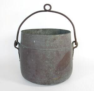 Large-Primitive-Antique-Marked-Copper-Cooking-Apple-Butter-Cauldron-Pot-Kettle