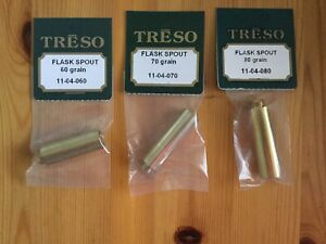 THREE-TRESO-solid-brass-flask-spouts-Powder-Measure-Muzzleloader-60-70-80-USA