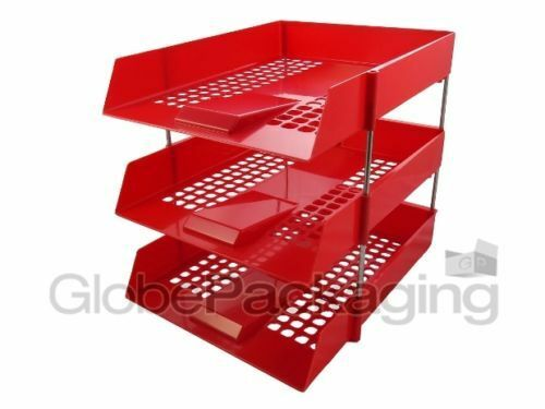 3 x RED IN//OUT LETTER FILING TRAYS RISERS 1 COMPLETE SET