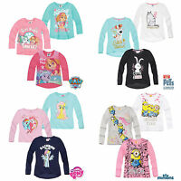 Girls Long Sleeve T-Shirt Top Minions Paw Patrol Secret Life Of Pets Age 2-10