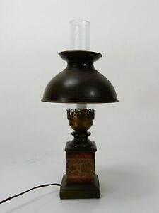 Details About Colonial Table Lamp Green With Chimney
