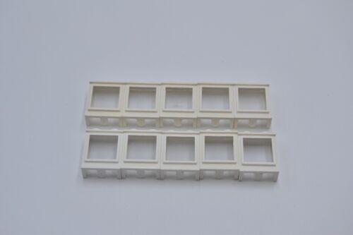LEGO 10 x Fenster Fensterbank kurz weiß White Window 1x2x2 with Fixed Glass 7026
