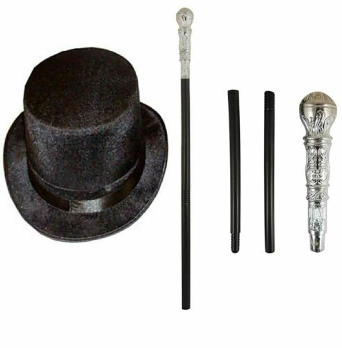 Childrens Kids Adult Factory Owner Top Hat And Cane Stick Book Week Fancy Dress