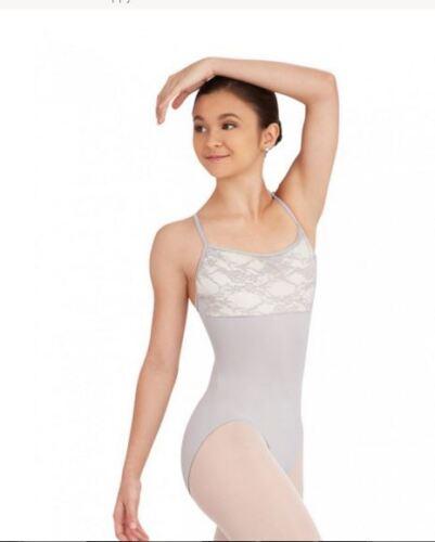 NWT Capezio Ballet Lace Bodice Leotard Cement #10318 Ladies Sizes strappy back