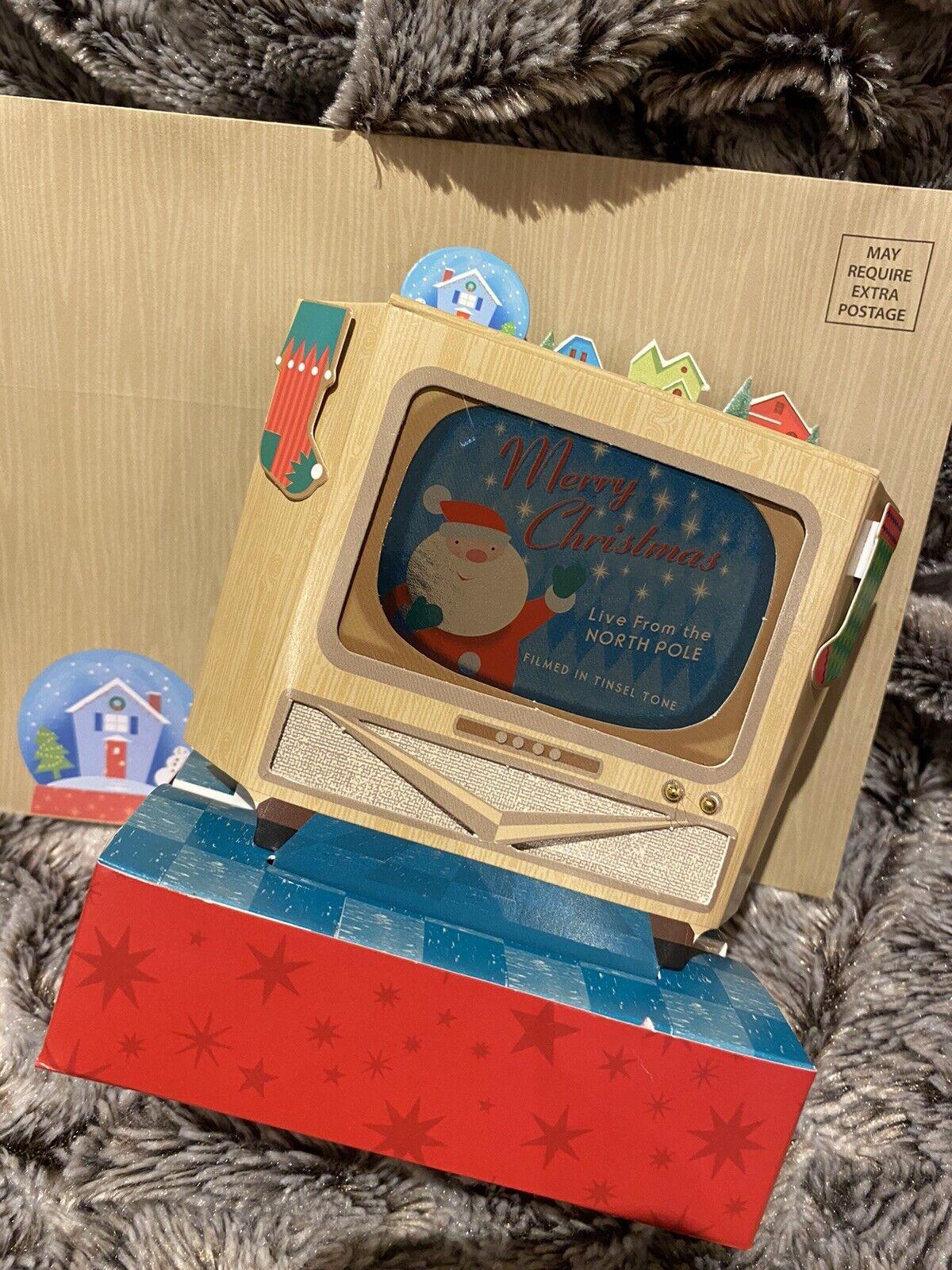3D De Lujo Pop Up Santa Vintage televisor muy detallada de tarjeta de vacaciones de Navidad
