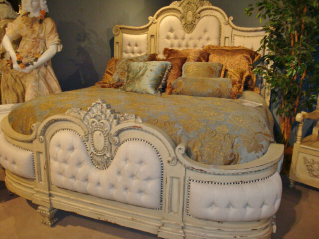 Button Tuffted Linen Bed Massive Elegant King Linen Tufted Bed Parchment