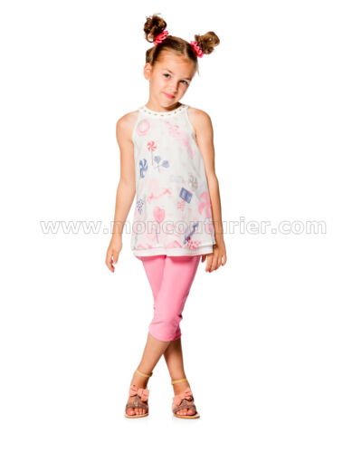 Sizes 5-12 Deux par Deux Girls/' Tunic with Chiffon Overlay Rose Bonbon
