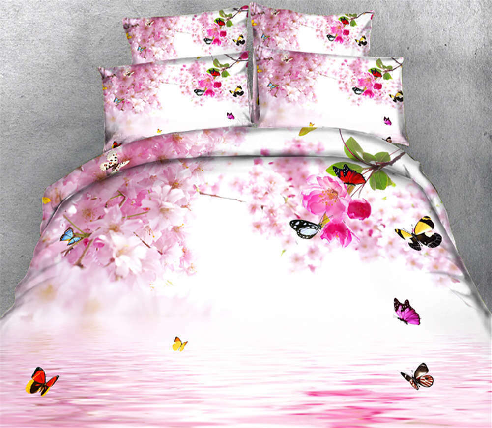 Farbeful Butterfly 3D Printing Duvet Quilt Doona Covers Pillow Case Bedding Sets