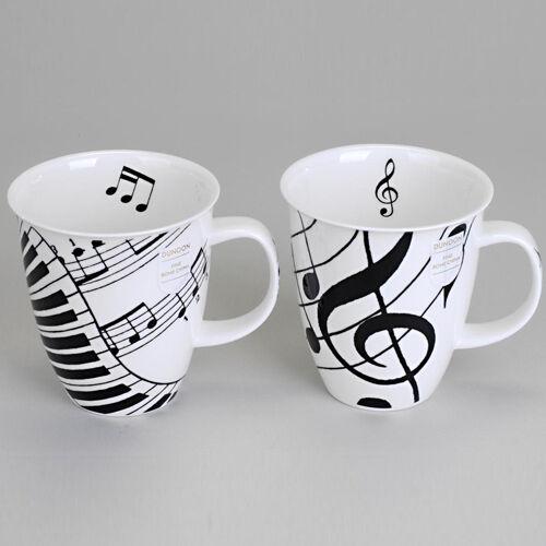 Formano Tasse Becher Ebony Ivory Schwarz Weiß Musik Noten Klavier Tasten NEU