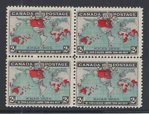 Canada-Sc-86b-MNH-1898-2c-Christmas-deep-blue-oceans-block-of-4-fresh