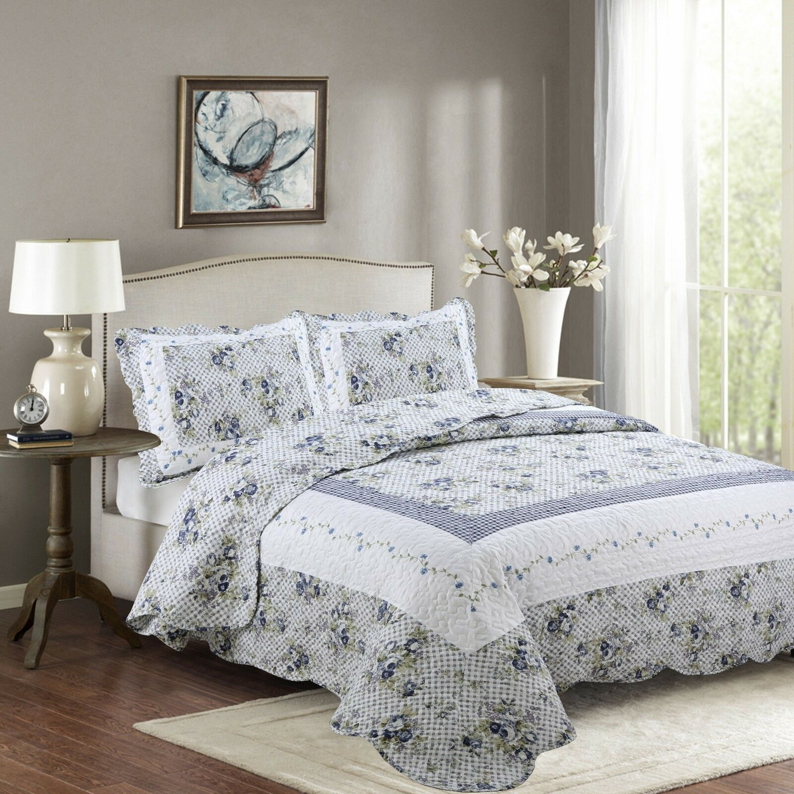 Fancy Linen Reversible Bedspread Floral Weiß Blau Grün All Größes New