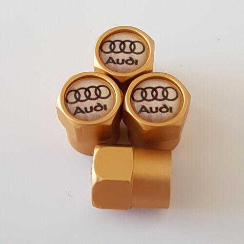 Rueda de aleación de oro Audi Coche Válvula Casquillos de polvo se adapta a todos los modelos
