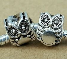 2PC LOT Antique Silver 3D Cute Owl Double Sided European Beads Charms