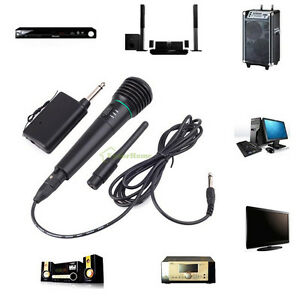 2in1 Wired or Wireless Handheld Microphone Mic Receiver System Undirectional US