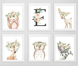 Rosa Gris Woodland Animales Monograma Personalizado Arte Floral vivero Set 6 614-A
