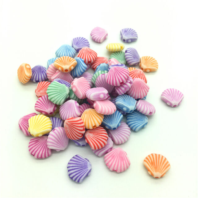 50pcs Mixed Fish Acrylic Perforation beads Children Kid DIY Jewelry Making #14
