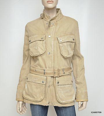 Nwt $1795 Ralph Lauren Black Label Denim Mariner 4-Pocket Jacket Coat ~Safari *6