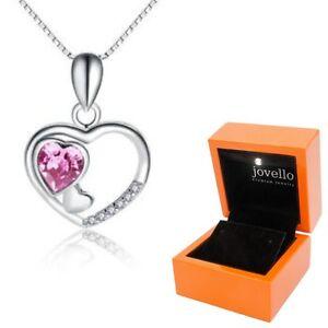 925-Silber-pink-Herz-Kristall-Zirkonia-Anhaenger-mit-Kette-Halskette-LED-Box